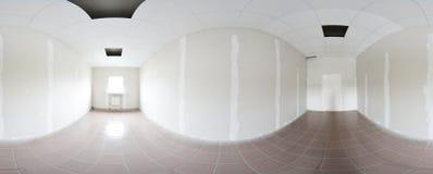 球状360程度全景投射,内部空的室修理装饰的全景在现代平的公寓 库存照片