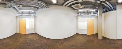 球状360程度全景投射,在现代平的公寓的内部空的室 免版税库存照片