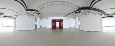 球状360程度全景投射,现代平的公寓的内部空的室 免版税图库摄影