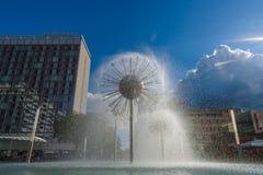 以球的形式一个美丽的喷泉 免版税库存图片