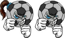 球童女孩隆隆声足球 免版税库存图片