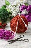 球编织的纱线 免版税库存图片