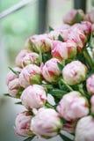球芽 在玻璃花瓶的可爱的花 桃红色牡丹美丽的花束 花卉构成,场面,白天 免版税图库摄影