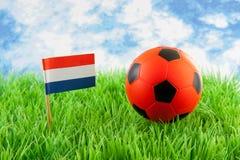 球荷兰语域标志桔子足球 库存图片