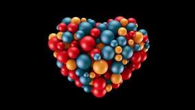 球落并且形成心形 抽象浪漫概念 3D回报动画 股票录像