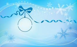 球蓝色圣诞节丝带 免版税库存照片