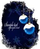 球蓝色圣诞节明信片雪 库存图片