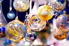 球蜡烛水晶glaskugeln kerzen mit 免版税库存照片