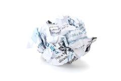球被弄皱的纸张 免版税库存照片