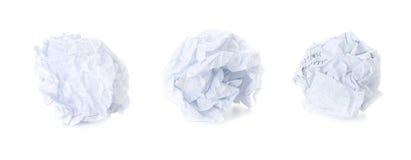 球被摆正的被弄皱的纸张集 免版税库存图片