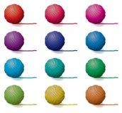 球被设置的纱线 免版税库存照片