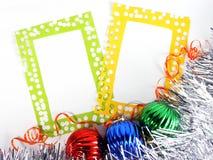 球装饰photoframes闪亮金属片二 免版税库存图片