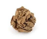 球褐色被弄皱的纸张 库存照片