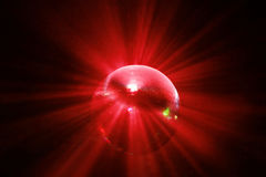 球迪斯科行动红色发光 免版税库存图片