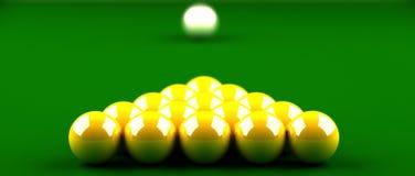 球金黄落袋撞球 向量例证