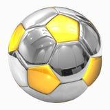 球镀铬物橄榄球金黄足球 免版税库存图片