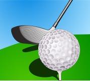 球高尔夫球棍子 库存图片