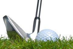 球高尔夫球铁粗砺的射击 库存照片