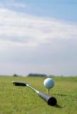 球高尔夫球高的草绿色 免版税库存图片