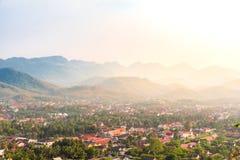 琅勃拉邦市,老挝顶视图  库存照片
