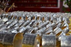 琅勃拉邦银镯子 库存图片