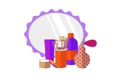 理发工具,香水,在白色背景的镜子 库存例证