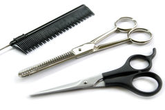 理发师梳子剪刀 库存图片