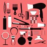 理发相关标志 传染媒介套头发的辅助部件 库存图片