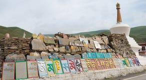 理塘,中国- 2014年7月17日:在Ganden Thubchen Choek的玛尼石头 免版税库存图片