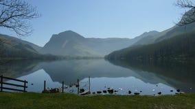 理想的反射性对称在湖区 免版税库存图片