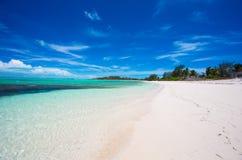 理想的白色海滩在加勒比 库存照片