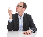 经理有在白色-隔绝的精采想法。 免版税库存照片