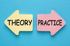 理论对实践概念 库存照片