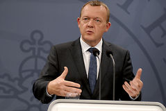 总理LARS LOKKE拉斯姆森_BEDRE平衡 免版税库存照片