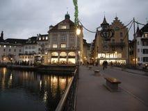 琉森在夜都市风景之前 免版税库存照片