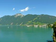 琉森湖, Brunnen 瑞士 免版税库存照片