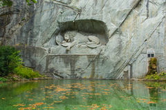 琉森的狮子纪念碑在瑞士 免版税库存照片
