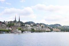 琉森/瑞士- 5月31,2018 :美丽的市琉森在瑞士 免版税库存照片