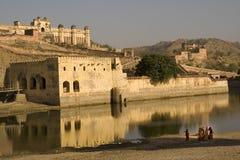 琥珀色的堡垒印度斋浦尔 免版税图库摄影