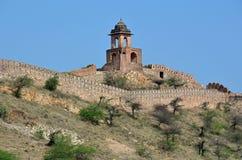 琥珀色的堡垒或宫殿, nr斋浦尔,印度 免版税库存照片