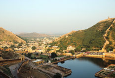 琥珀色的堡垒,印度观点  免版税库存照片