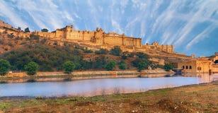 琥珀色的堡垒,斋浦尔,印度看法  免版税图库摄影