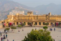 琥珀色的宫殿,斋浦尔,拉贾斯坦状态,印度 免版税图库摄影