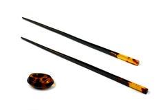 琥珀色的筷子东部食物立场 免版税图库摄影