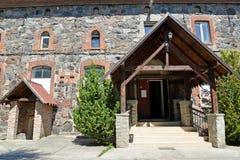 琥珀,俄罗斯 对博物馆陈列复合体& x22的入口; 琥珀色的Lock& x22; 库存图片