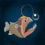 琵琶鱼或扁鲨与灯笼在织地不很细黑暗的背景 脑室嵴piscatorius 库存例证