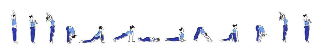瑜伽与Om标志的asana实践在莲花传染媒介例证 免版税库存照片