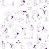 瑜伽例证 苏里亚namaskara 无缝的模式 EPS, JPG 免版税图库摄影