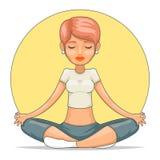 瑜伽凝思逗人喜爱的女性女孩宁静大师智慧健康漫画人物象设计传染媒介例证 库存例证