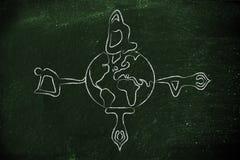 瑜伽凝思:做姿势的信奉瑜伽者环球 免版税库存照片